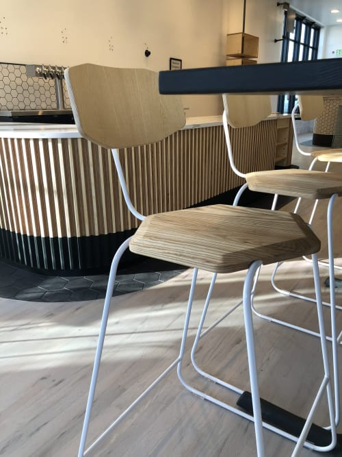 Chairs by Housefish seen at Chook Charcoal Chicken, Denver - Bespoke Chook chairs, Perch benches, Fluted bar facing, Menu boards
