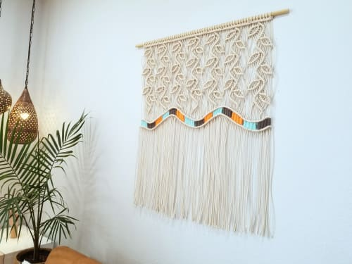 Macrame Wall Hanging by YASHI DESIGNS - Wide woven Macrame wall hanging- Sunset