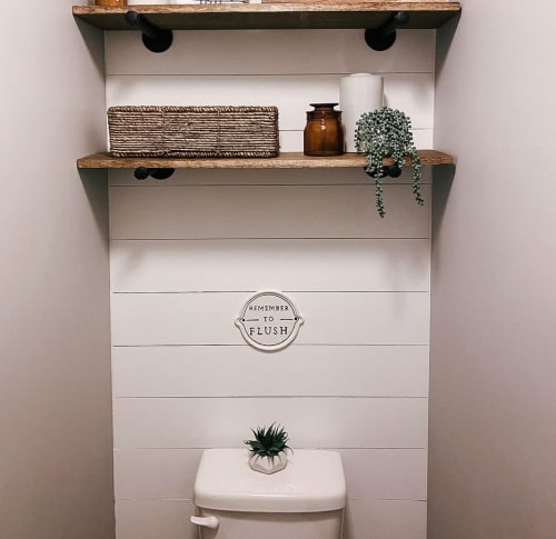 Art & Wall Decor by Magnolia seen at Chelsie Morales' Home - Remember to Flush Wall Sign White