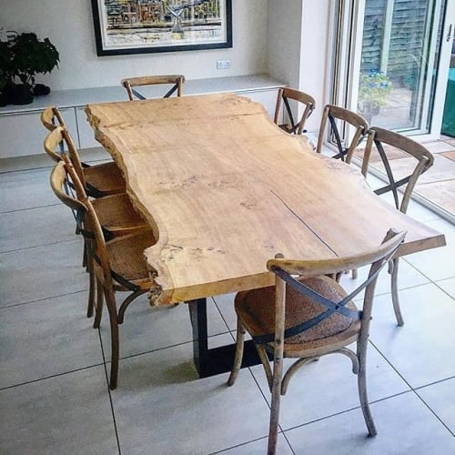 Tables by Handmade in Brighton seen at Private Residence, London - Single Slab Live-Edge Oak Dining Table