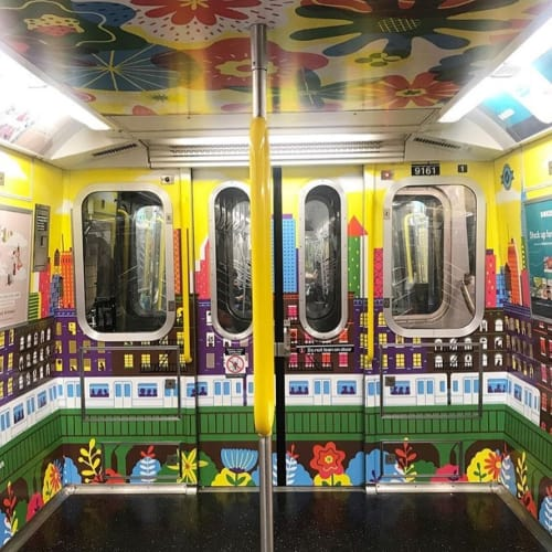 Murals by Boyoun Kim seen at Private Residence, New York - E train illustration art