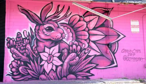 Street Murals by G. Cites Art seen at 4321 N 7th Ave, Phoenix - Pink Liquor Store