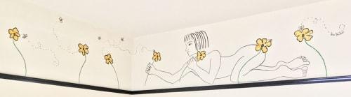 Murals by Kira Buckel seen at Freehand NYC, New York - Flower Picking Child