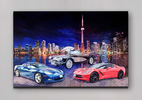Paintings by Melissa Patel seen at Coliseum Auto Sales on Weston, Toronto - Untitled (Cars) - oil painting