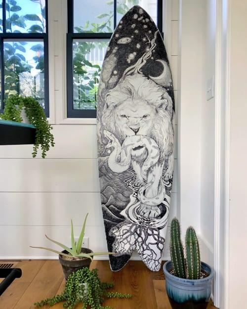 Art & Wall Decor by Charly Malpass Art seen at Private Residence, Charleston - Custom Surf Board Art