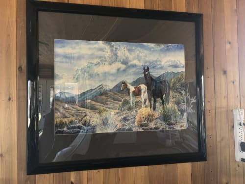 """Paintings by Christie Marie E. Russell seen at Carson City, Carson City - """"Mustangs Wild"""" Original is a large watercolor. * Fine Art Prints Available"""