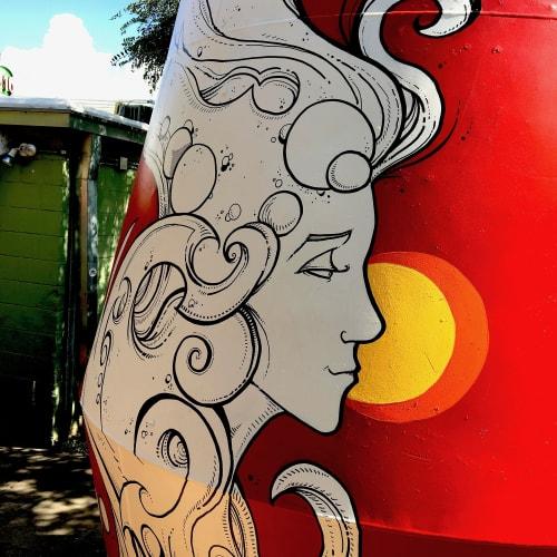 Murals by Cody Schibi seen at Irie Bean Coffee & Wine Bar, Austin - The Mixer