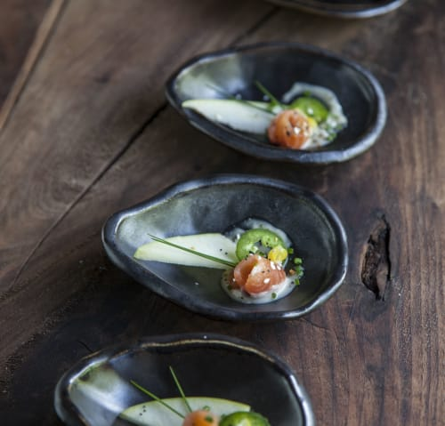 Ceramic Plates by Crazy Green Studios seen at Budy Finch Catering & Revelry, Flat Rock - Round Oyster Tasting/Amuse Plates