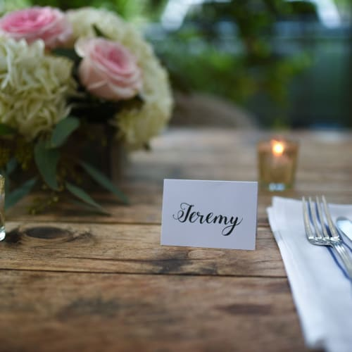 Signage by Jamie Lindley Lettering seen at Tiny Boxwoods, Houston - Hand lettering place cards