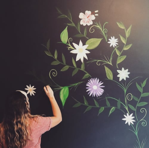 Murals by Sincerely Adrienne seen at Private Residence, Aiken - Flower Wall Mural