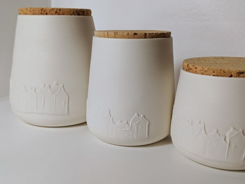 Tableware by BerangereCeramics seen at Private Residence, Brussels - Porcelain jars with subtle relief decoration of houses