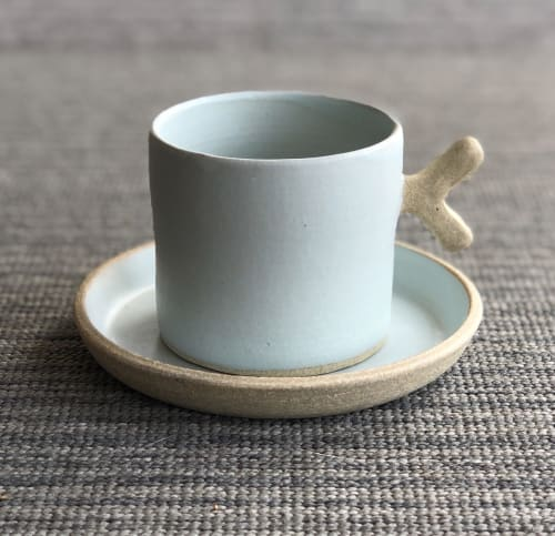 Cups by Tomoko Ceramics seen at Oakland, Oakland - Seafoam - Twiggy Espresso cup & Saucer
