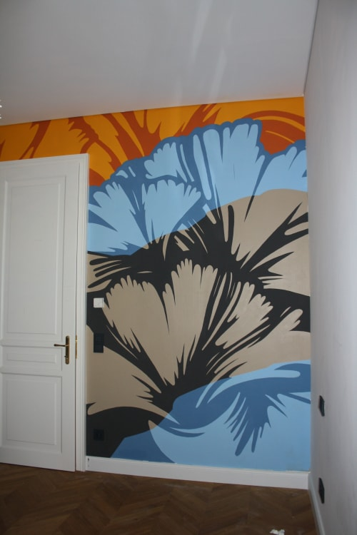 Murals by Luca Laurence seen at Private Residence, Vienna - Ginkgo Wall