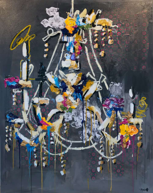 """Paintings by Ash Almonte seen at Private Residence, Austin - Chandelier- mixed media acrylic, resin on canvas 48""""x60"""""""