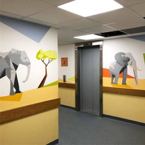 Murals by Dave Baranes seen at Hôpital Armand-Trousseau Ap-Hp, Paris - Indoor Mural