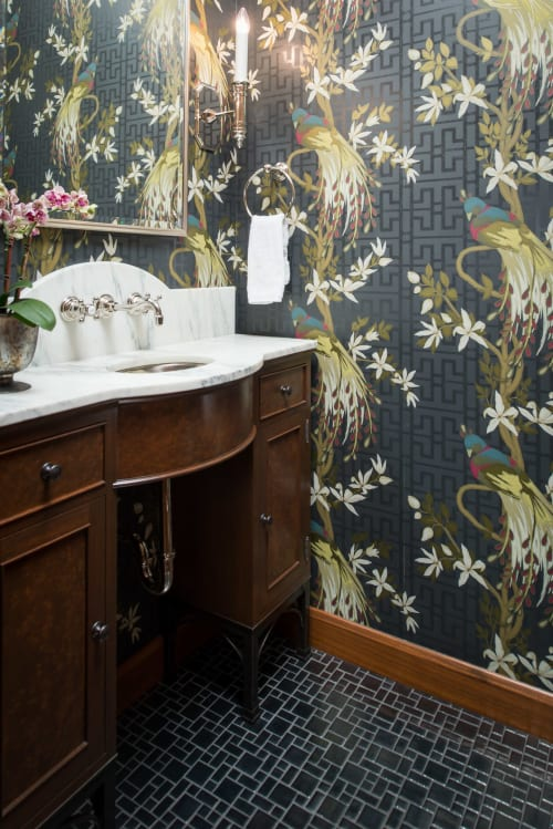 Tiles by Clay Squared to Infinity seen at Private Residence, Edina - Silver Mosaic Bathroom
