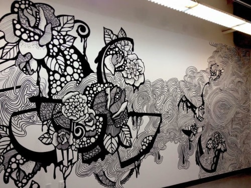Murals by Olivia Obrecht seen at Otis College of Art and Design, Los Angeles - Black and white mural