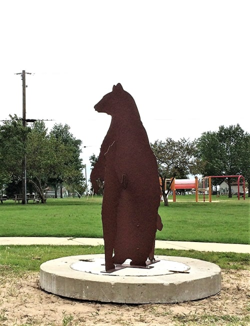 Public Sculptures by jim collins sculpture seen at Michigan City, Michigan City - BEAR FAMILY GOES TO THE ZOO
