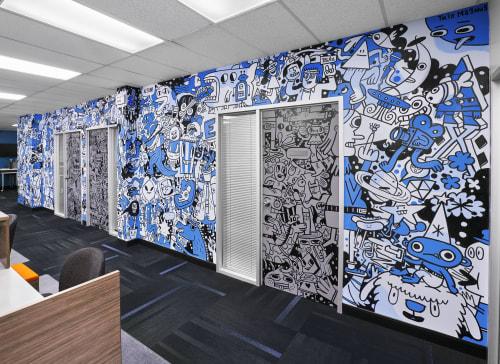 Murals by Trio Magnus seen at 1303 Yonge St, Toronto - Cineplex Office
