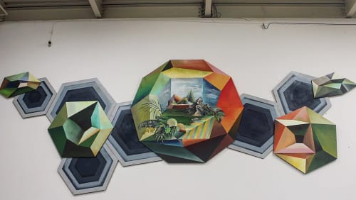 Murals by HUMAN SHAPED ANIMAL seen at Idea Fab Labs Santa Cruz, Santa Cruz - Emerging to Form