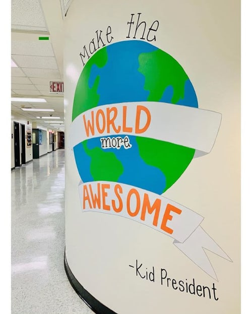Murals by Two Brushes seen at Head O'Meadow Elementary School, Newtown - Make the World More Awesome