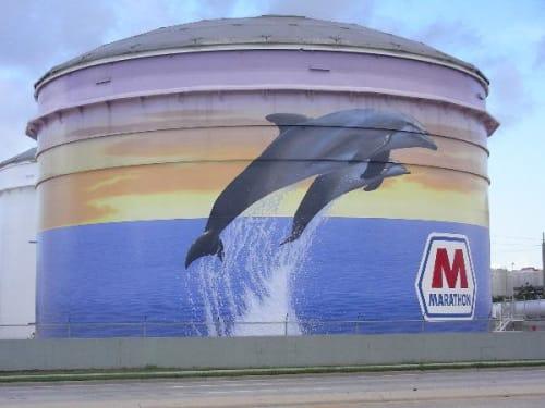 Street Murals by Eric Henn seen at Tampa, Tampa - Marathon Oil Mural