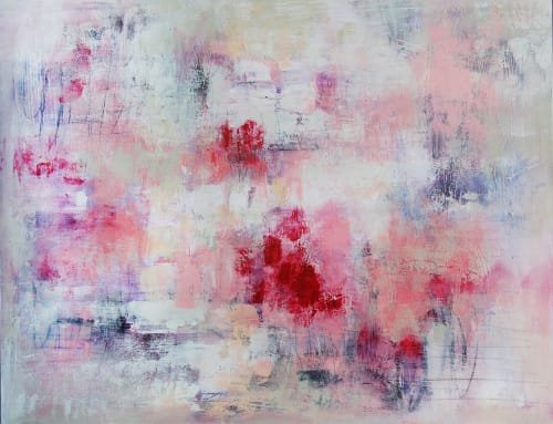 """Paintings by Christina Doelling, Abstract Artist seen at Private Residence, Roswell - """"Pink Passion"""" ~ 48x36"""