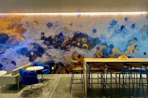 Murals by Amanda M Moody seen at American Express Centurion Lounge, Charlotte - the one you love is not far away