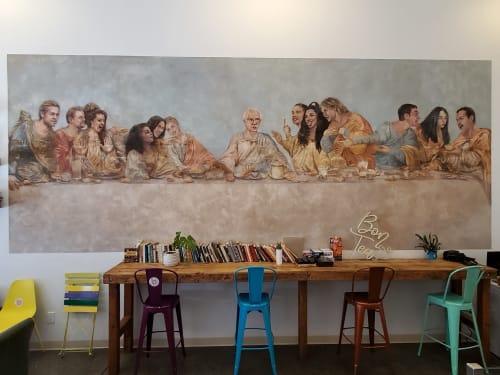 Murals by Hattas Public Murals seen at BonTea Cafe, Los Angeles - Tea Party