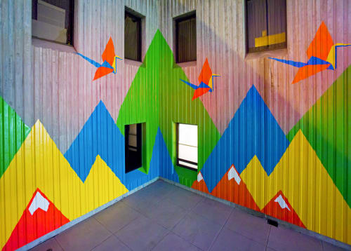 Street Murals by Louise Griffin seen at Augustus Hawkins Mental Health Center, Los Angeles - 1000 Cranes