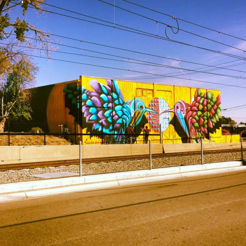 Murals by Bobby MaGee Lopez at Lamar Station, Lakewood - Omming Birds