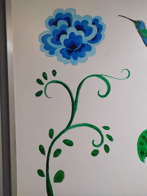 Paintings by Tania Christoforatou seen at University General Hospital of Heraklion - Blue flowers and colibri