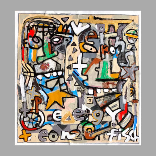 """Paintings by Jonas Fisch seen at Private Residence, Norman - Twin Soul, 35x32"""""""