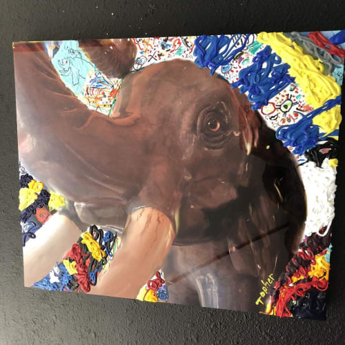 Paintings by Topher Straus seen at Private Residence, Evergreen - Elephant On Metal 2