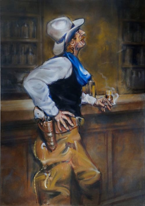 Paintings by Ritchard Rodriguez seen at Back Forty Texas BBQ, Pleasant Hill - Cowboy's Admiration & Cowboy's Beautiful Demimondaine