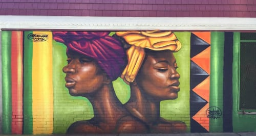 Street Murals by Rahmaan Statik Barnes seen at East 63rd Street & South Cottage Grove Avenue, Chicago - Soul 2 Soul