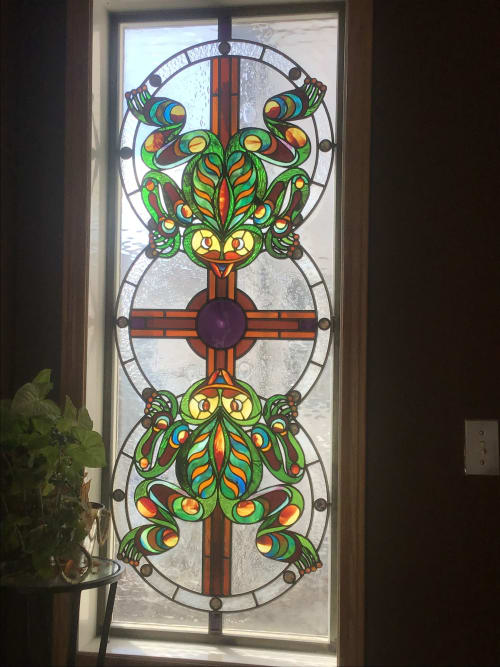 Art Curation by Glass Act Studio seen at Private Residence, Calgary - Haida Tree Frogs