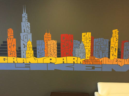 Paintings by Joe Mills Illustration seen at 200 E Randolph St, Chicago - Chicacgo Typography Skyline