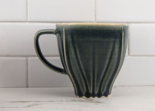 Cups by M.L. Pots seen at Creator's Studio, Borden - Draped Coffee Cup with Nightfall Grey Glaze - 005