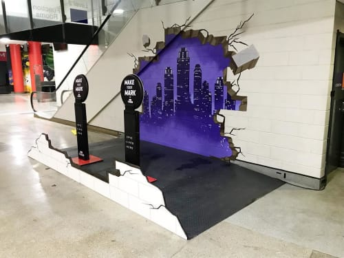 Murals by Ashley McNeil seen at Marvel Stadium, Docklands - 3D Mural