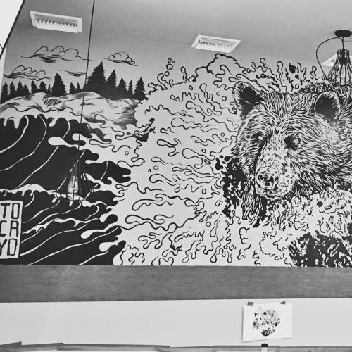 Murals by Juan Marante seen at Oak & Coal, Costa Mesa - Bear Mural