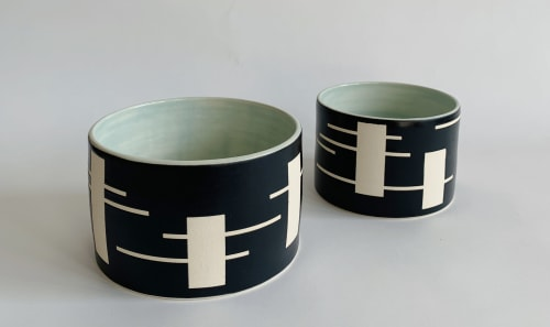 Vases & Vessels by Mineral Ceramics seen at Art Share L.A., Los Angeles - Digit Planter, Black on White Stoneware Ceramic