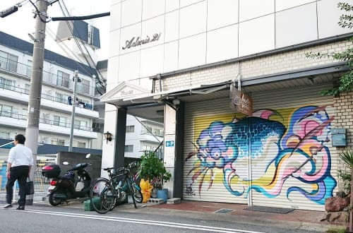 Murals by TitiFreak seen at Pizzeria Anello, Kakogawa - Mural Art