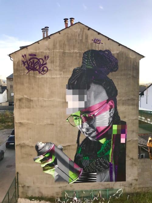Murals by Asier Vera seen at Calle el Morredero, 10, Cacabelos - Nerea