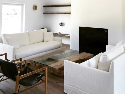 Tables by Jeff Soderbergh Custom Sustainable Furnishings seen at Private Residence, New York - Orient Point Split Slab Table