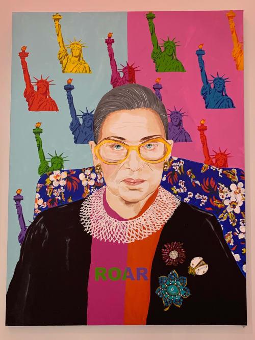 Paintings by Ashley Longshore seen at Diane von Furstenberg, New York - RBG for DvF