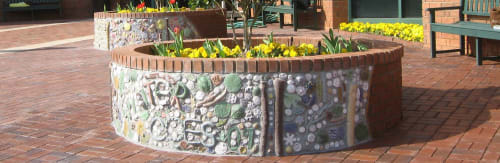 Public Mosaics by Pam Brewer seen at Christ Church Episcopal School, Greenville - The Four Seasons Planters