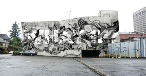 Murals by Leo Shallat seen at University District, Seattle - What If