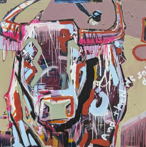 Paintings by Aidan Weichard seen at Creator's Studio, Garfield - Hold onto Neon Wrens