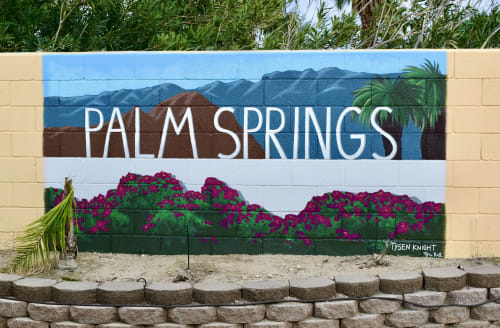 Murals by Tysen Knight seen at Private Residence, Palm Springs - Iconic Palm Springs Aerial Tramway Sign - Wall Mural